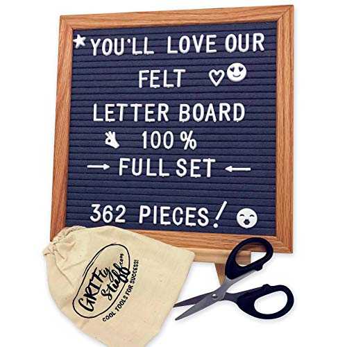Letter Board Deluxe Set - 362 Changeable Letters, Gray Felt, With Solid Wooden Tripod Stand, Scissors, Storage Bag; Small 10x10 Grey Boards for Office Signs, Decorations, Trendy Messages by GRITty Stuff