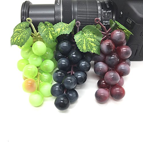 HUELE 3PCS Artificial Grapes Plastic Fake Decorative Fruit Food Lifelike Home Wedding Party Garden Decor Mini Simulation Fruit Vegetables