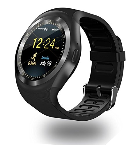 Smart Watch Y1 Bluetooth 3.0 Smart Watch HD IPS Round Touch Screen Cell Phone Watch Support SIM & Tf Card Unlocked Watch Cell Phone with 1.54 Inch Screen SmartWatch Sleep Monitor (Black)