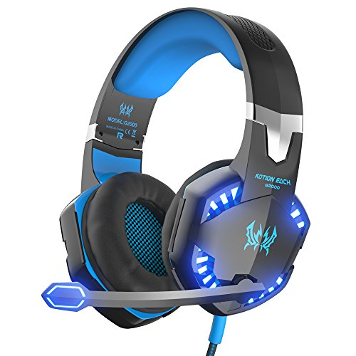 VersionTech G2000 PC Gaming Headset with Volume Control, Stereo Over Ear Headphones with Microphone, Led lights for Laptop Notebook Desktop Computer Gamer - Blue