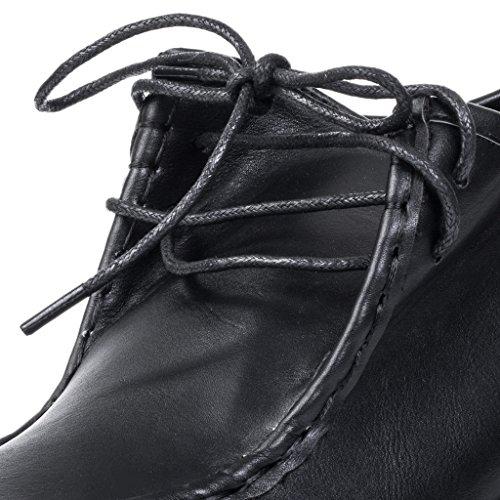 Ankle Lace Boots Shoes Spylovebuy Up Leather Women's Black Style Block Heel Maya qA4TwAZ