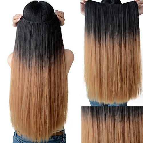 Neverland Women Premium-Long Hair Clip-in Dip Dye Ombre Menschen gemacht Heat Resistant Gerade Haar-Verlängerungs