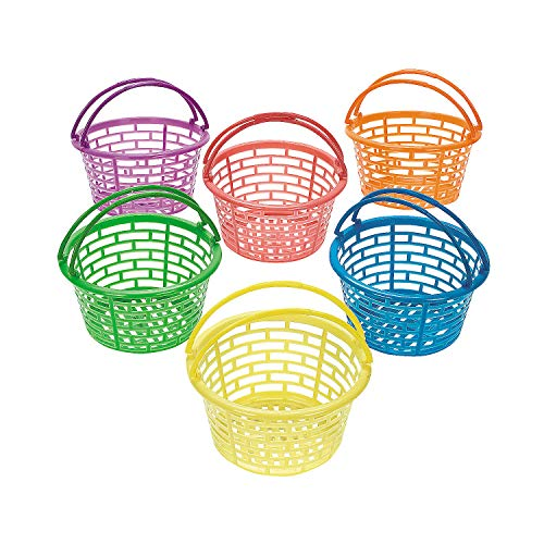 Fun Express - Plastic Bright Round Baskets for Easter - Party Supplies - Containers & Boxes - Misc Containers & Boxes - Easter - 12 - Oriental Basket Easter