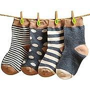 GRyiyi Baby Socks Unisex infant Turn Cuff Socks for 0-6 Months Baby, 4 Pair (thin style:denim Blue)