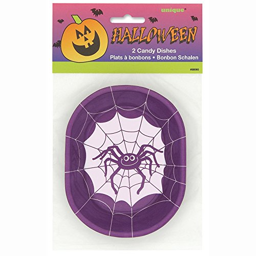 Plastic Spider Halloween Candy Dishes, 2ct ()