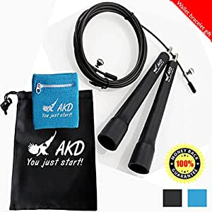 Jump Rope jump rope workout jump rope muscles - Black Speed Jumping, Double Unders, WOD, MMA, Boxing, Skipping Workout & Fitness Exercise Training - With Carry Case & Gift wristband wallet