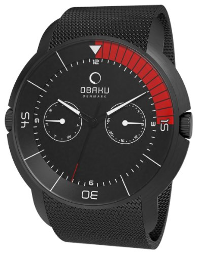 Obaku Men's V141GBBMB Black Stainless-Steel Quartz Watch with Black Dial, Watch Central