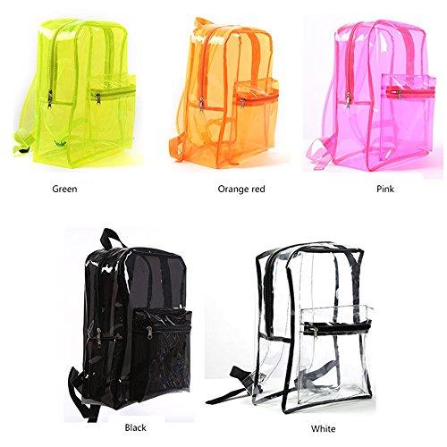 Women Students Backpack Bags PVC Jelly Black Zipper Outdoor School Storage Fashion Green Waterproof School Transparent Beach Bag Clear Bookbacks Girl Z0qFRww