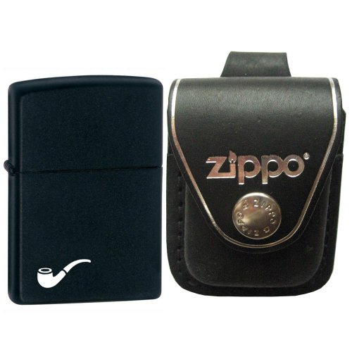 Zippo 218PL Pipe Insert Black Matte Pocket Windproof Lighter with Zippo Black Leather Loop Pouch