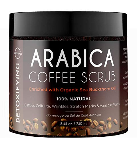O Naturals Coffee Arabica Dead Sea Salt Body Scrub. 100% Natural Detoxifying, Battles Cellulite, Wrinkles, Stretch Marks & Varicose Veins. Enriched w/Sea Buckthorn. Vegan for Women & Men. 8.45 Oz