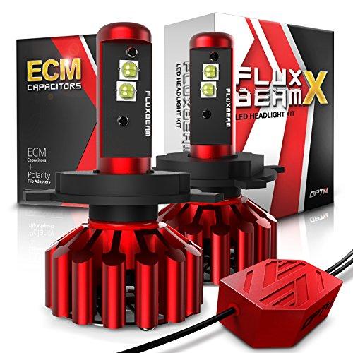 OPT7 FluxBeam X H4 9003 LED Headlight Bulbs w/Arc-Beam Lens - 8,400LM 6000K Daytime White - All Bulb Sizes - 80w - 2 Year Warranty