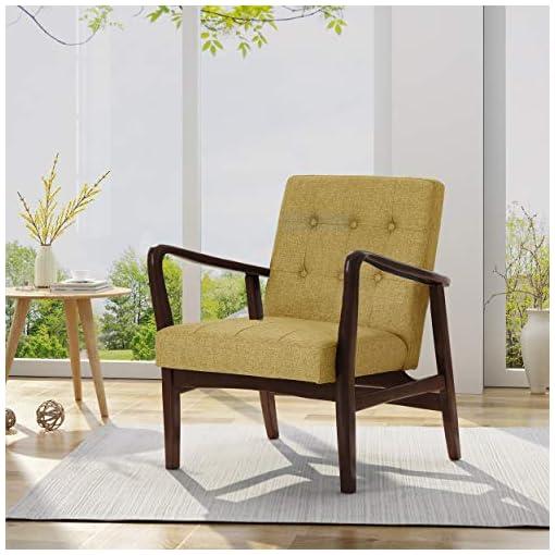 Farmhouse Accent Chairs Christopher Knight Home Conrad Fabric Mid-Century Birch Club Chair, Wasabi and Dark Espresso, Mustard farmhouse accent chairs