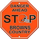 "Cleveland Browns Plastic Stop Sign ""Danger Ahead Browns Country"""