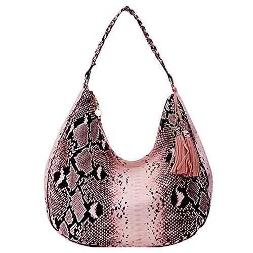Felice Women Snakeskin Hobo Tote Handbag Python Shoulder Bag Faux Leather Large Capacity Satchel Purse