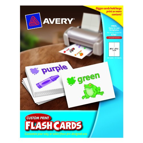 Avery Custom Print Flash Cards, 4.25 x 5.5 Inches, for Inkjet and Laser Printers, Pack 100 (04765) (Avery Custom Print Flash Cards compare prices)