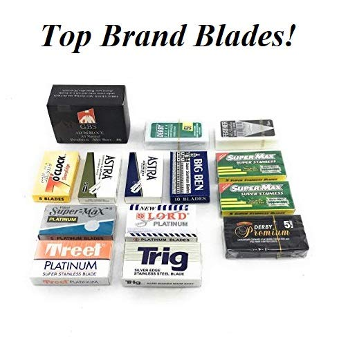 (GBS - 80 Double Edge Safety Blade Variety Pack - Includes 80G Alum Block - Tweet, Trig, Bic, Derby, Astra, Feather, Super Max, Big Ben, Nacet - Great for Double Edge Shaving Sets)