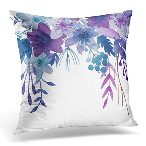 Throw Pillow Cover Floral Bouquet Blue Purple Flowers Modern Decorative Pillow Case Home Decor Square 18 x 18 Inch Pillowcase