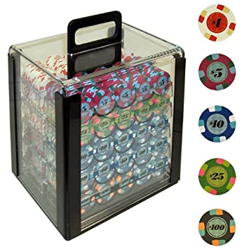 Paulson 1000 Paulson Tophat and Cane Poker Chips in Acrylic Carrier ...