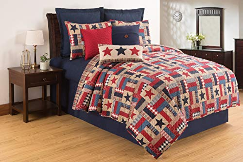 C&F Home Bennington Patriotic 4th of July Memorial Day Labor Day Americana Liberty Full/Queen Reversible Cotton Quilt Full/Queen 3 Piece Set