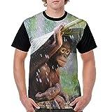 Men's Unique T Shirts Chimpanzee Banana Leaves Rain Short Sleeve T-Shirt