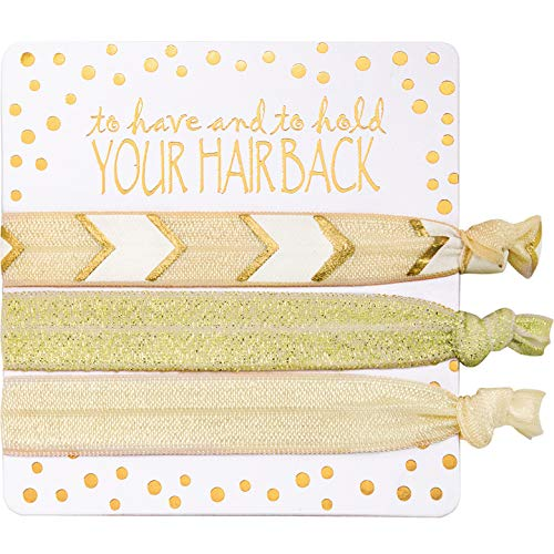 6 Packs Golden Hair Ties Kit for Bridesmaid Gifts, Ponytail Holders Hair Band for Bachelorette Parties, Bridal Showers - 6 units