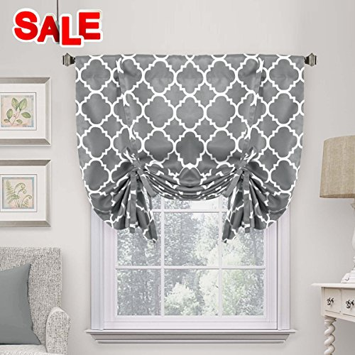 H.VERSAILTEX Thermal Insulated Grey Blackout Curtain - Tie Up Shade for Small Window (Rod Pocket Panel, 42 W x 63 L, Moroccan Printed in Gray)