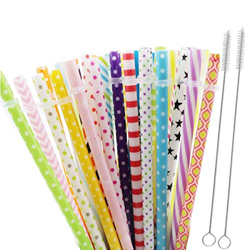 32 PCS Reusable Straws, Plastic Drinking Straws BPA Free 9 inch Colorful Thick Drinking Straws for Yeti, Mason Jar Tumbler, RTIC, Starbucks, Family or Party Use with 2 Set Cleaning Brush