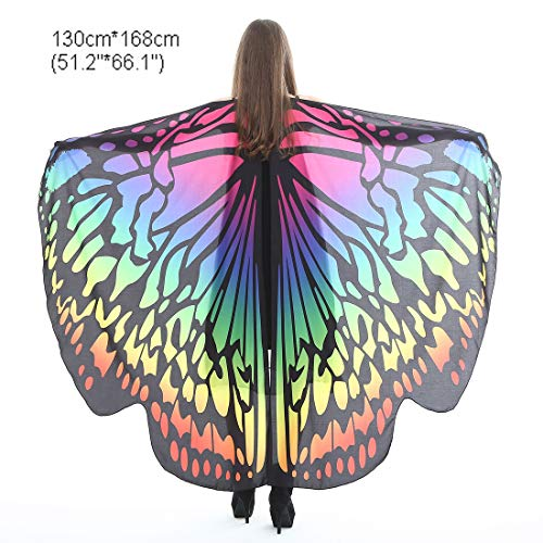 Flower Tiger Halloween Party Soft Fabric Butterfly Wings Shawl Fairy Ladies Nymph Pixie Costume Accessory (Gradient Colorful)