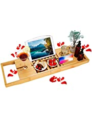 BRITOR Bathtub Caddy Trays - Premium Bamboo Bath Trays with Extending Sides, Reading Rack, Tablet Holder, Cell Phone Tray and Luxury Wine Glass HolderBath Caddy