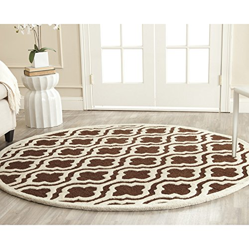 Safavieh Cambridge Collection CAM132H Handcrafted Moroccan Geometric Dark Brown and Ivory Premium Wool Round Area Rug (6' Diameter) - Dark Brown Wool Rug