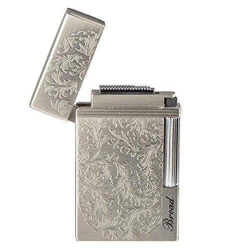 - Piioket Broad BD313 Carved Arabesques Flint Wheel Butane Gas Cigarette Cigar Lighter - Silver