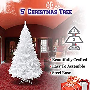 BenefitUSA Classic Pine Artificial Christmas Tree with Metal Stand, 5' White 4