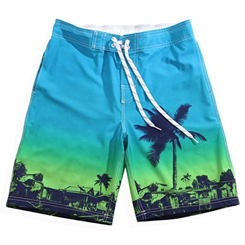 Men's Quick Dry Island Party 4-Way Stretch Graphic Board Shorts Large 34-35