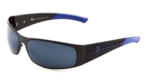 512d4b8be7 KHAN Metal Wrap Around Sunglasses Super Dark Lens Motocycling Biking Racing  (Blue)