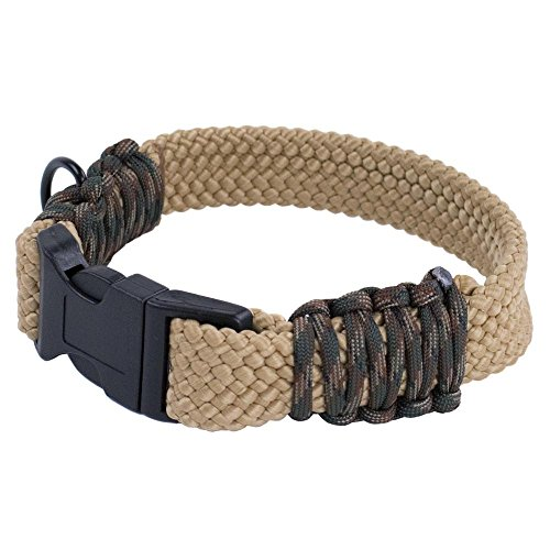 PARACORD PLANET Flat Braid Rope DIY Paracord Dog Collar Kits – Choose From Red, Black, Neon Pink, and Tan/Camo – DIY Dog Collars Make Your Furry Friend Stand Out (Tan & Woodland Camo) ()