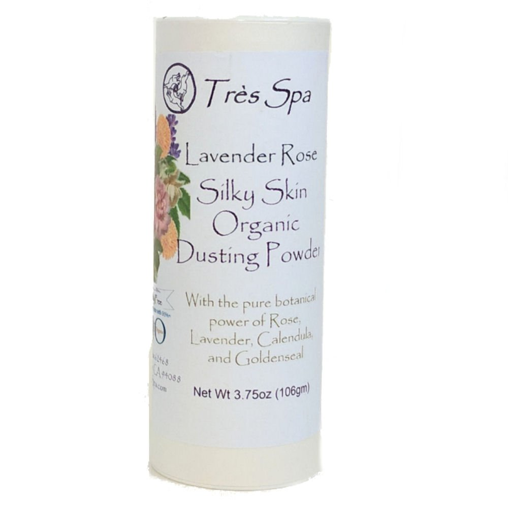 Très Spa Organic Silky Skin Dusting Powder - Pure Botanicals with Rose petals, Lavender, & Golden Seal by Très Spa