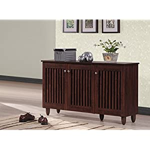 Wholesale Interiors Baxton Studio Fernanda Modern and Contemporary 3-Door Oak Brown Wooden Entryway Shoes Storage Wide Cabinet