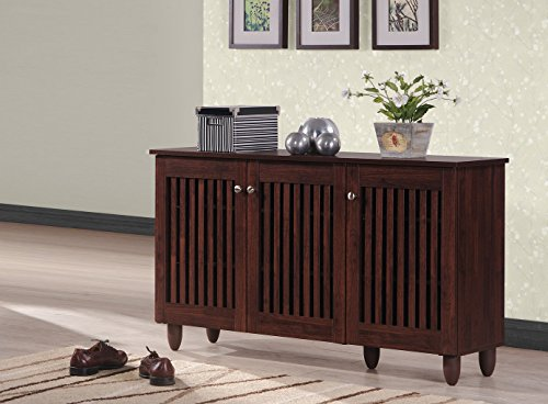 Baxton Studio Fernanda Modern and Contemporary 3-Door Oak Brown Wooden Entryway Shoes Storage Wide Cabinet (Oak Shoe Storage)