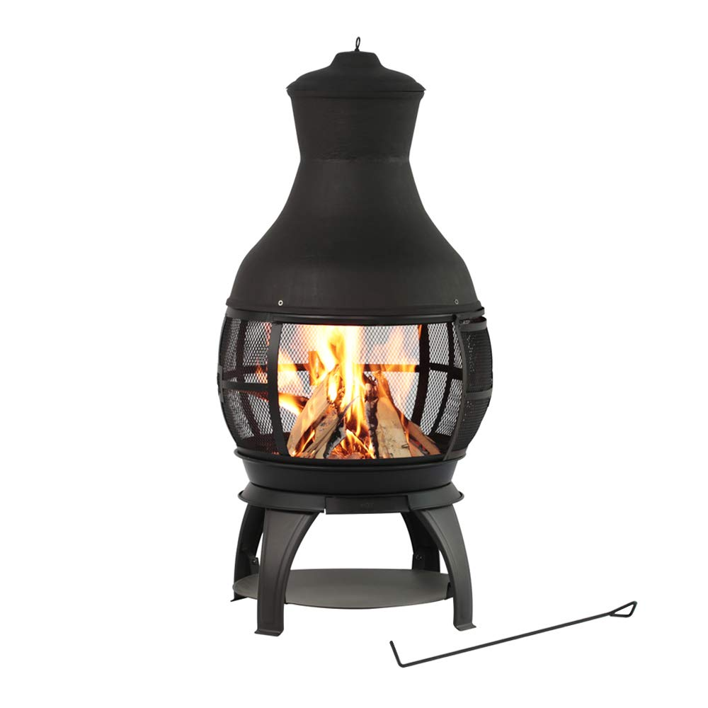 BALI OUTDOORS Wood Burning Chimenea, Outdoor Round Wooden Fire Pit Fireplace, Black by BALI OUTDOORS