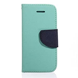 Light Green Combo Hybrid Flip PU Leather Case - Candy Case Wallet Cover Card Holder Stand - iPhone 5c