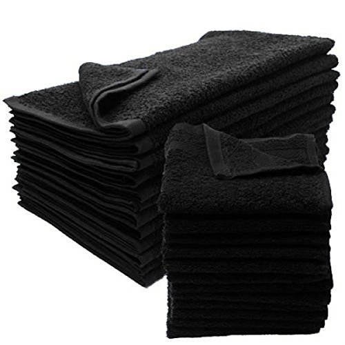 12 New Black Salon Gym Spa Towels Ringspun Hand 16x27 2.9 Lb First Quality Cotton Full Terry Cloth No Border For Super Absorbing Brand New
