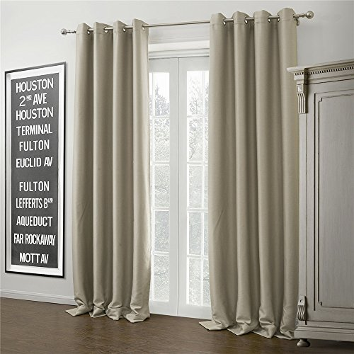Iyuegou Warm Ivory Solid Grommet Top Blackout Curtains