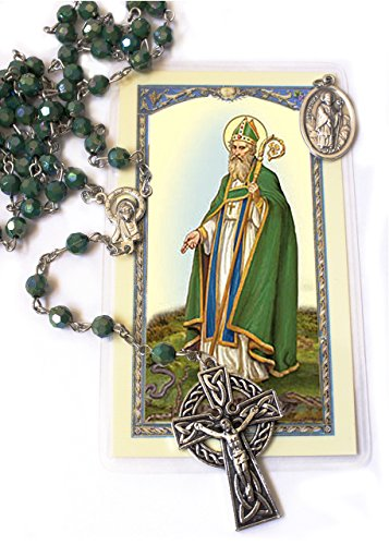 Irish Rosary with Celtic Cross Gift set (includes St Patrick medal and Holy Card)