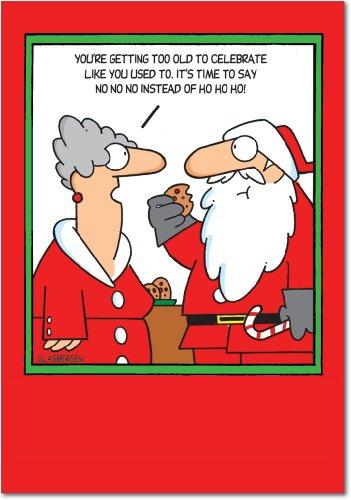 B5868 Box Set of 12 Box of No No No Christmas Funny Christmas Card; with (Negative Face Watch)