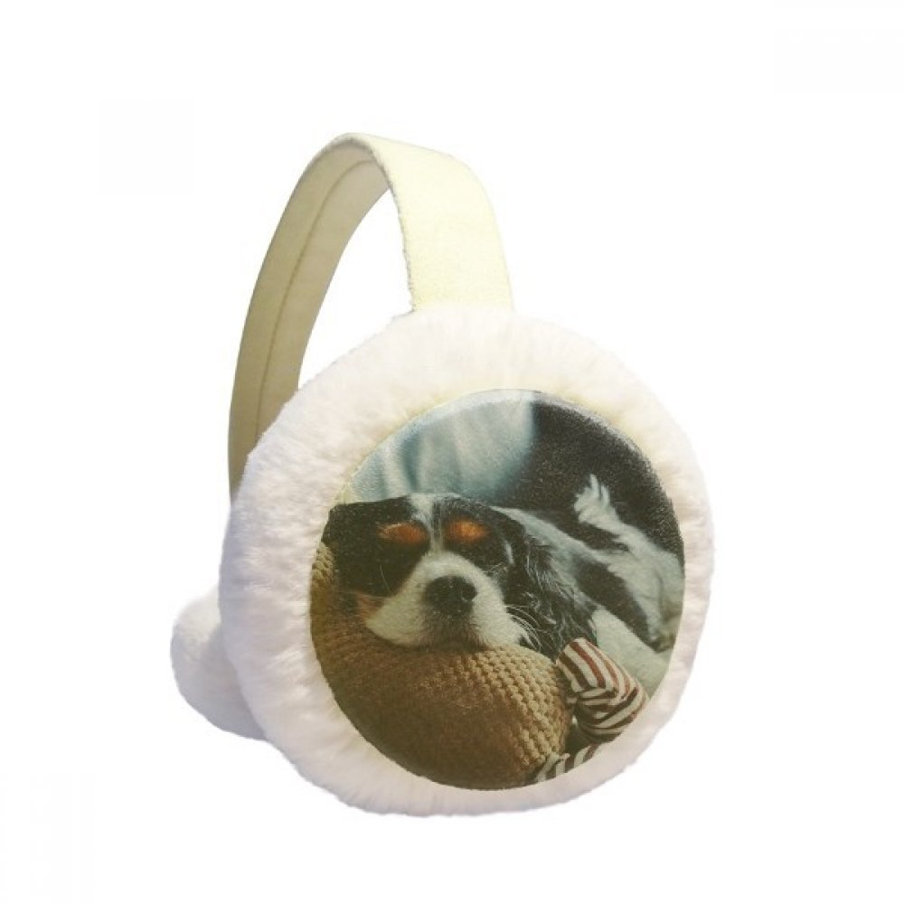 Lazy Dog Animal Sentimental Picture Winter Earmuffs Ear Warmers Faux Fur Foldable Plush Outdoor Gift