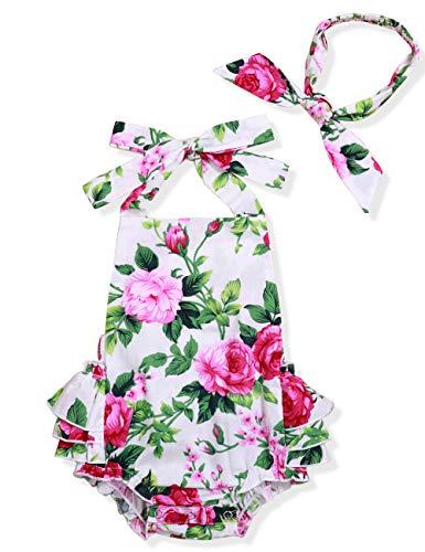 Yoveme Infant Baby Girl Clothes Cute Floral Print Ruffles Romper Summer Clothes + Headband (White, 0-3 Months) Cute White Baby Cloth