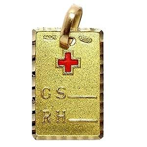 Colgante oro 18k placa grupo sanguíneo RH cruz roja esmaltada. Con una cara lisa ideal para grabar texto.Largo (mm.): 16. Ancho (mm.): 10. Peso (gr.): 1,3