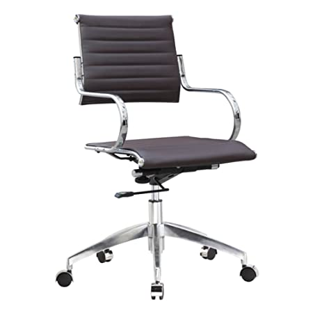 Fine Mod Imports Flees Mid Back Office Chair, Dark Brown
