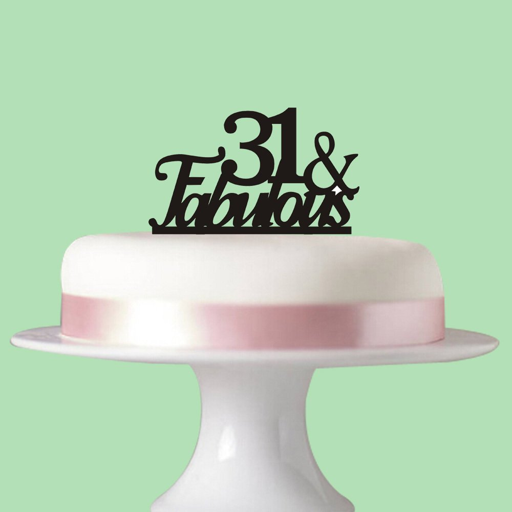 31 & Fabulous cake topper for 31st birthday party decorations Black acrylic