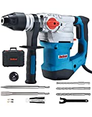 ENEACRO 1-1/4 Inch SDS-Plus 1500W Heavy Duty Rotary Hammer Drill, Safety Clutch 4 Functions with Vibration Control Including Grease, Chisels and Drill Chuck with Case